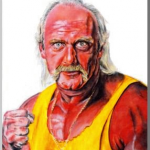 Hulk  Hogan(ハルクホーガン)を色紙に絵具で描いた作品