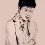 石原裕次郎を色紙に墨で描いた作品