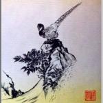 雉(きじ)を色紙に描いた作品