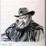 Orson  Welles (オーソン ウェルズ)を墨で描いた作品