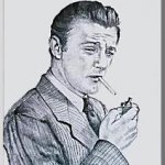 Robert Mitchum(ロバート・ミッチャム)を墨画で描いた作品