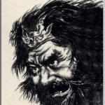 張飛(ちょうひ)を墨で描いた作品
