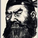 関羽(かんう)を墨で描いた作品