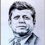 John Fitzgerald  Knnedy (ケネディ)を墨で描いた作品
