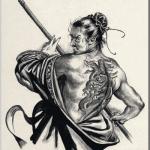 九紋竜 史進(くもんりゅうししん)を墨で描いた作品