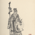 鹿と寿老人を墨で描いた作品