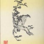 鷹(タカ)を色紙に墨で描いた作品