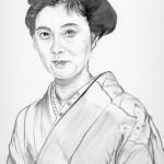 大原麗子(おおはられいこ)の似顔を墨で描いた作品